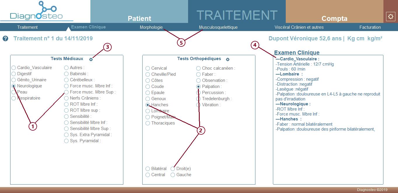 Onglet traitement de la page traitement