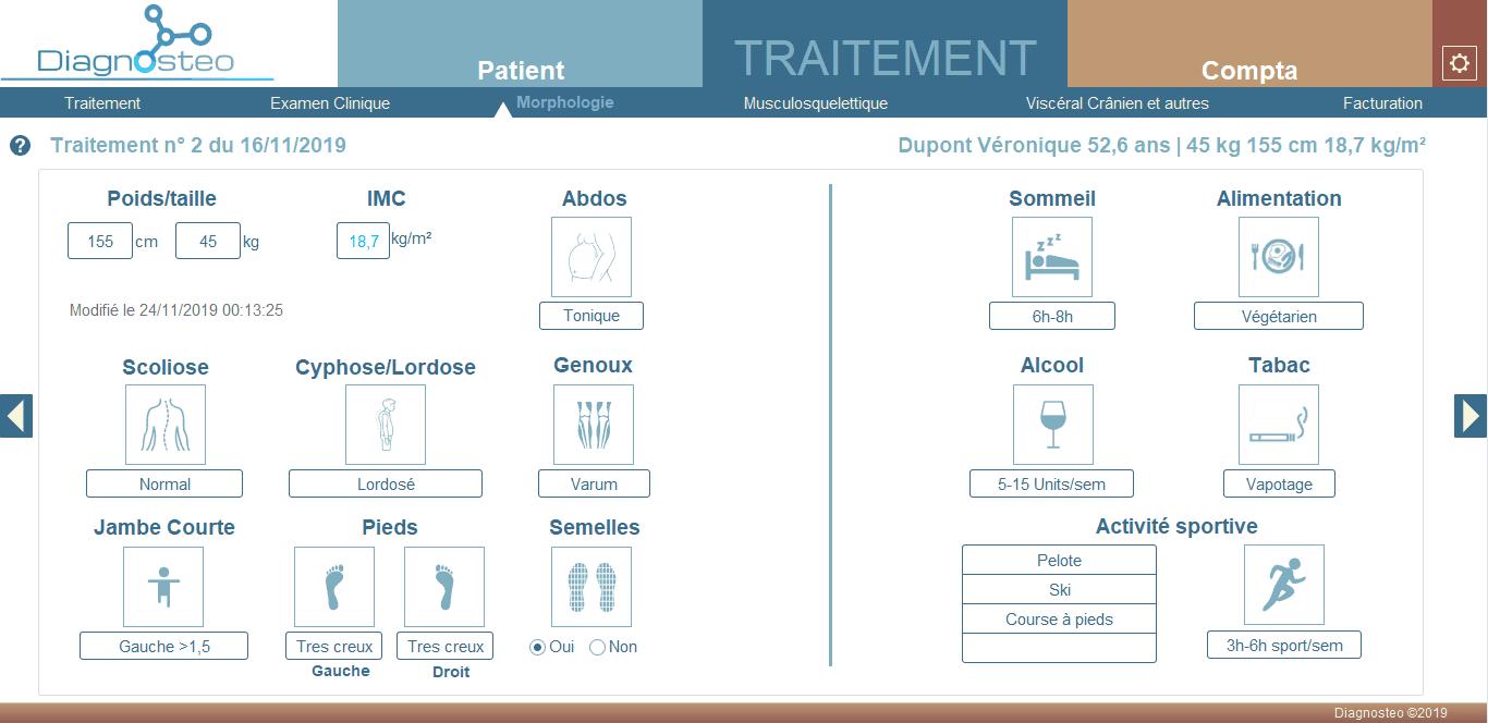 Onglet morphologie - diagnosteo